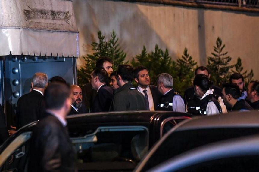 Turkish police and other officials enter Saudi Arabia's consulate in Istanbul to search the premises in the investigation over missing Saudi journalist Jamal Khashoggi on Oct 15, 2018.