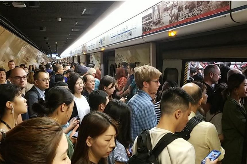 The jam-packed Sheung Wan station in Hong Kong on Oct 16, 2018.