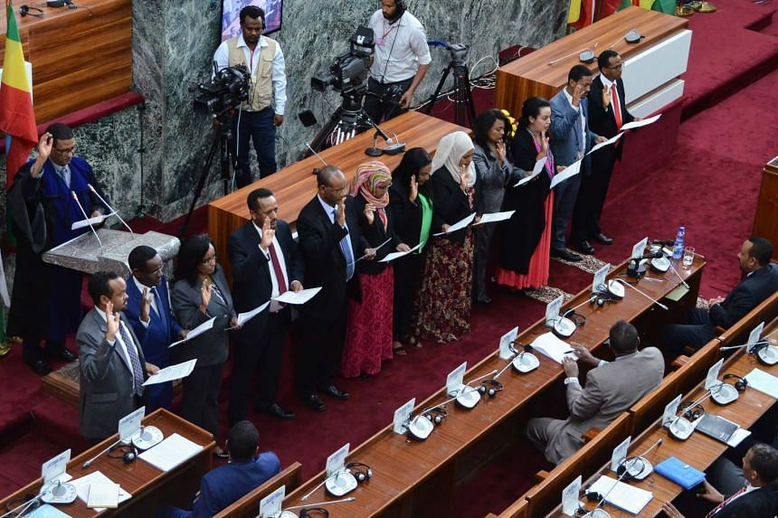 Ethiopia's newly appointed ministers take their oath of office in Addis Ababa on Oct 16, 2018.
