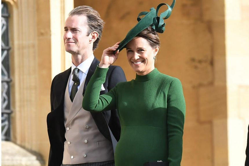 James Matthews (left) and his wife Pippa Middleton arrive for the royal wedding ceremony of Princess Eugenie of York and Jack Brooksbank at St George's Chapel at Windsor Castle, in Windsor, Britain, on Oct 12, 2018.