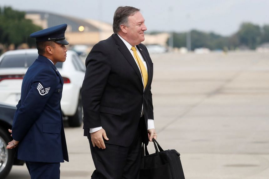 US Secretary of State Mike Pompeo heads to his plane to depart for meetings with King Salman in Saudi Arabia from Joint Base Andrews, Maryland, on Oct 15, 2018.