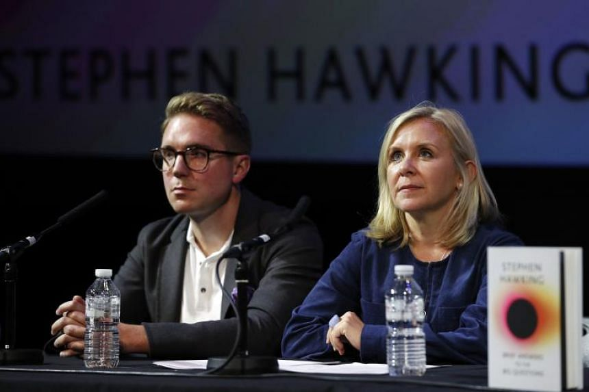 Son and daughter of British scientist Stephen Hawking, Timothy and Lucy Hawking, answer questions during an interview at the global launch of Stephen Hawking's final book at the Science Museum in London. on Oct 15, 2018.