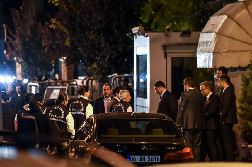 Turkish police and other officials enter Saudi Arabia's consulate in Istanbul on Oct 15, 2018 to search the premises in the investigation over missing Saudi journalist Jamal Khashoggi.