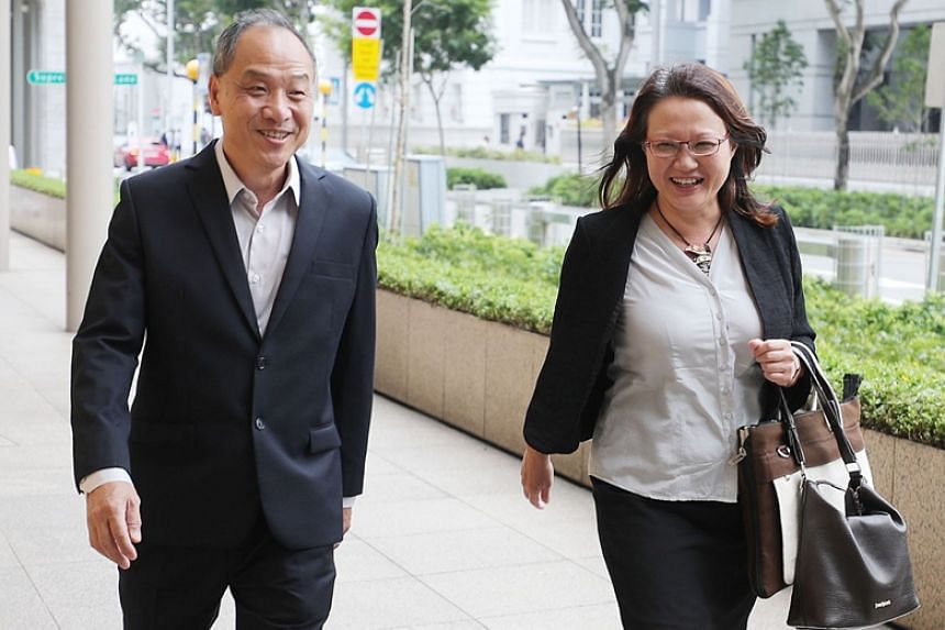 Former Workers' Party chief Low Thia Khiang and WP chairman Sylvia Lim at the High Court on Oct 16, 2018. Mr Low will be cross-examined first by Senior Counsel Davinder Singh, who is representing the Pasir Ris-Punggol Town Council.