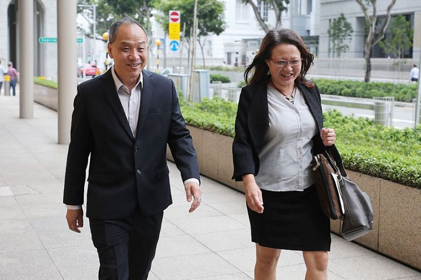 Former Workers' Party chief Low Thia Khiang and WP chairman Sylvia Lim at the High Court on Oct 16, 2018. Senior Counsel Davinder Singh suggested that Mr Lim, Ms Lim and WP chief Pritam Singh had decided to appoint FM Solutions & Services within thre