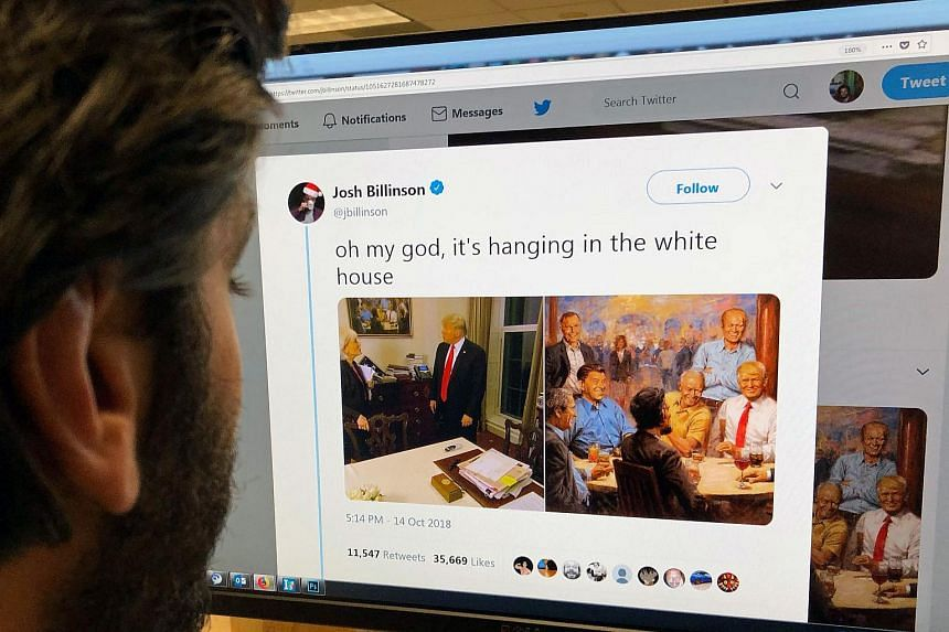 The Twitter feed of Josh Billinson shows a painting by Andy Thomas (right) entitled The Republican Club, alongside a screenshot of the painting hanging at the White House during a 60 Minutes interview with US President Donald Trump, in Los Angeles, o