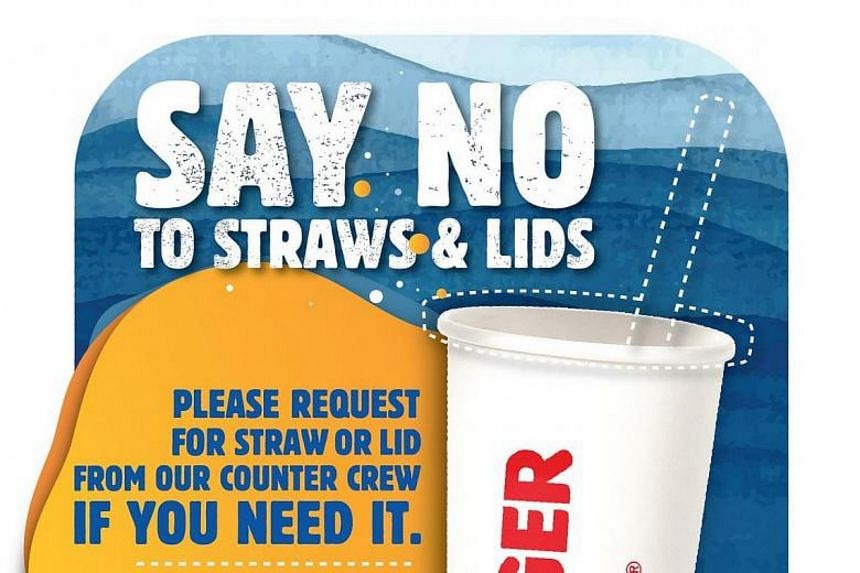 Straws and plastic lids for cold drinks will still be provided for deliveries and takeaways, while dine-in customers can ask for them.