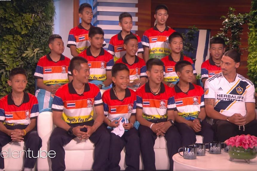 Football star Zlatan Ibrahimovic turned up on The Ellen DeGeneres Show to meet the 12 players and coach of the Thai football team Wild Boars who had been stranded in a cave.