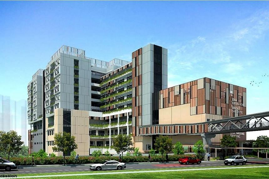 An artist's impression of Senja Care Home in Bukit Panjang. To be located next to a polyclinic, the nursing home will open at the end of 2020.