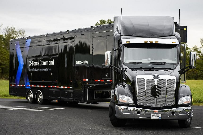 """IBM's """"cyber tactical operations centre"""" (above) is tucked inside a customised truck (top)."""