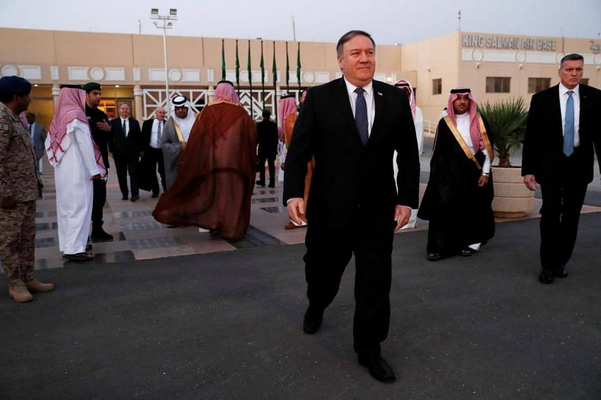 US Secretary of State Mike Pompeo walks to the plane before leaving Riyadh, Saudi Arabia, on Oct 17, 2018.