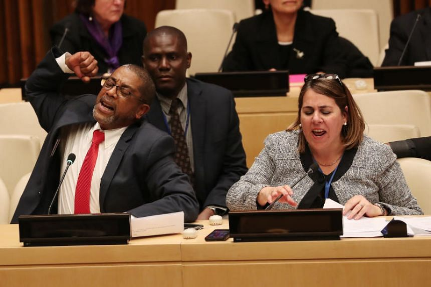 Cuban diplomats protest the launch of a US campaign on Cuban political prisoners at the United Nations in New York, US, on Oct 16, 2018.