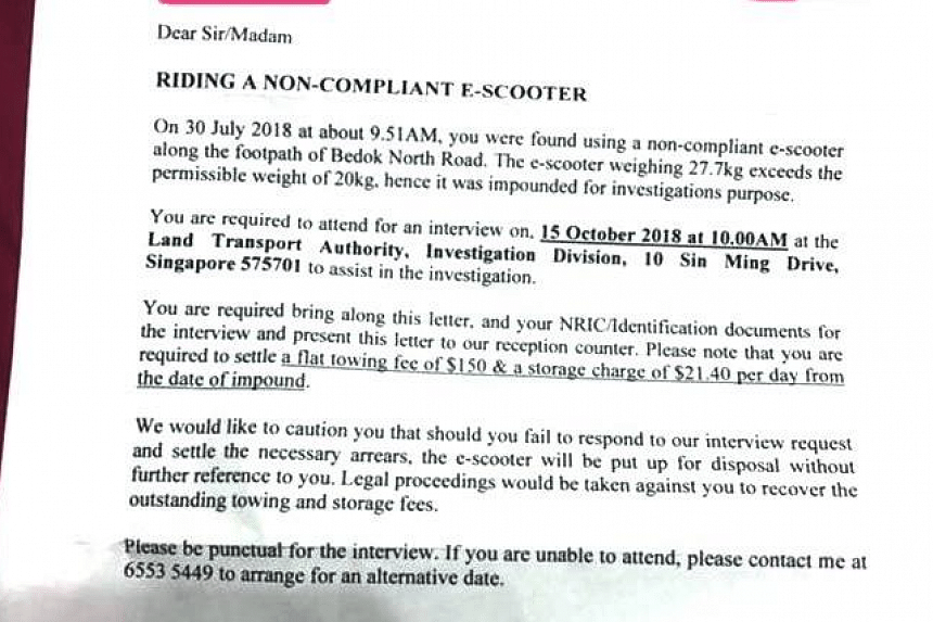 A woman was told to pay close to $1,800 in fees for her impounded non-compliant e-scooter, and a photograph of a letter issued to her by the LTA was shared on multiple social media sites.