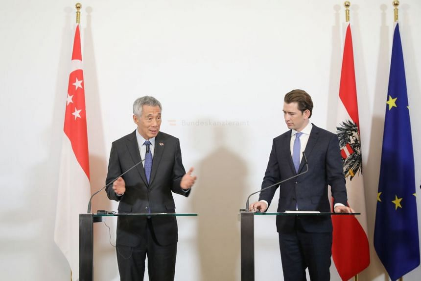 Joint press conference by Prime Minister Lee Hsien Loong and Austrian Chancellor Sebastian Kurz at the Federal Chancellory of Austria in Vienna, on Oct 17, 2018.