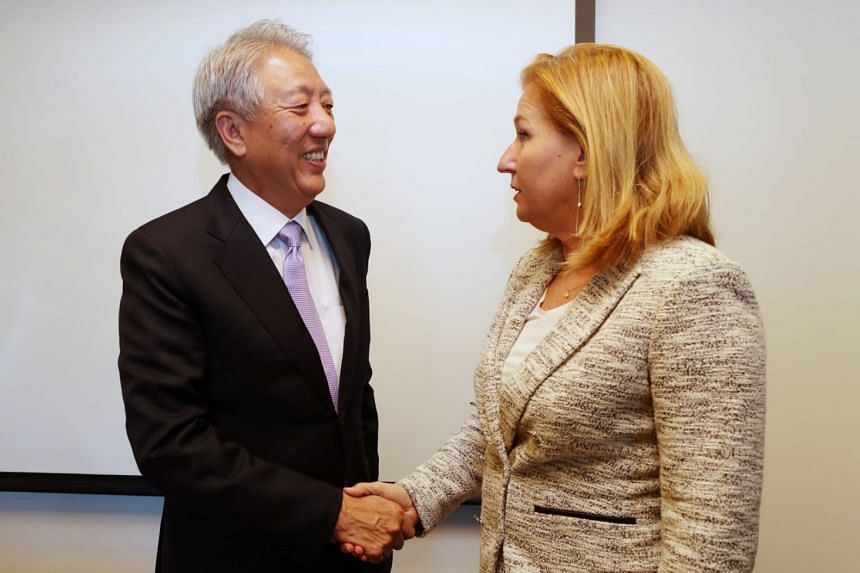 Deputy Prime Minister Teo Chee Hean meeting Ms Tzipi Livni, the leader of Israel's opposition, yesterday.
