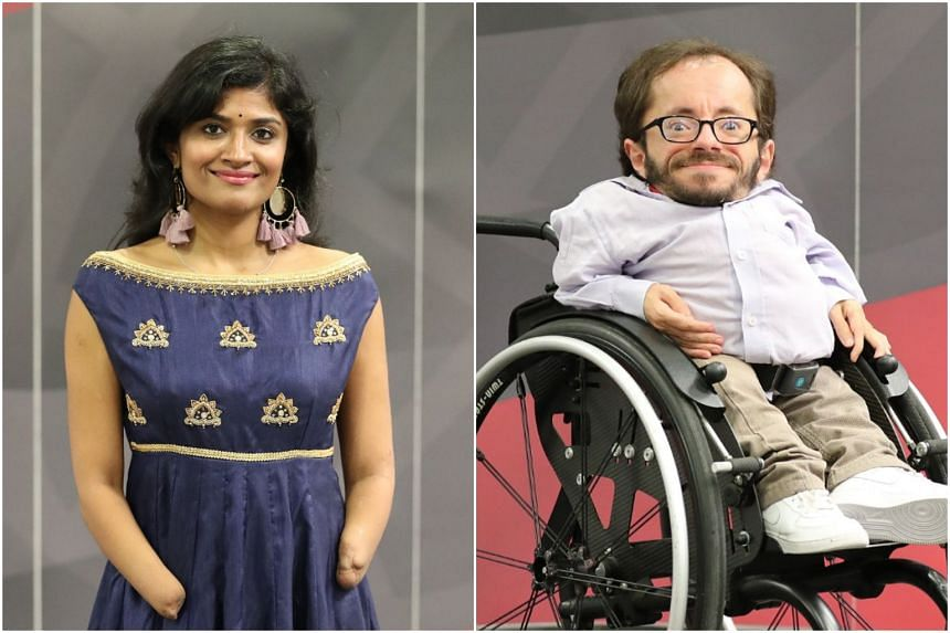 Dr Malvika Iyer and German disability rights activist Raul Krauthausen, speakers at the Global Leader Series for Non-Profits talk at the Singapore Institute of Management on Oct 17, 2018.