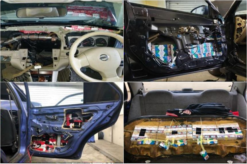 Contraband cigarettes were found hidden in various parts of two cars at the Tuas Checkpoint last Saturday (Oct 13).