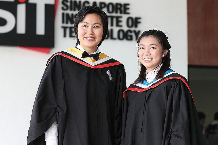 Ms Jennifer Wee (at left) and Ms Sabrina Tan are among the top graduates from the Singapore Institute of Technology this year. Ms Wee, 26, topped her class of 67 students in the Sustainable Infrastructure Engineering (Land) degree course and is now a