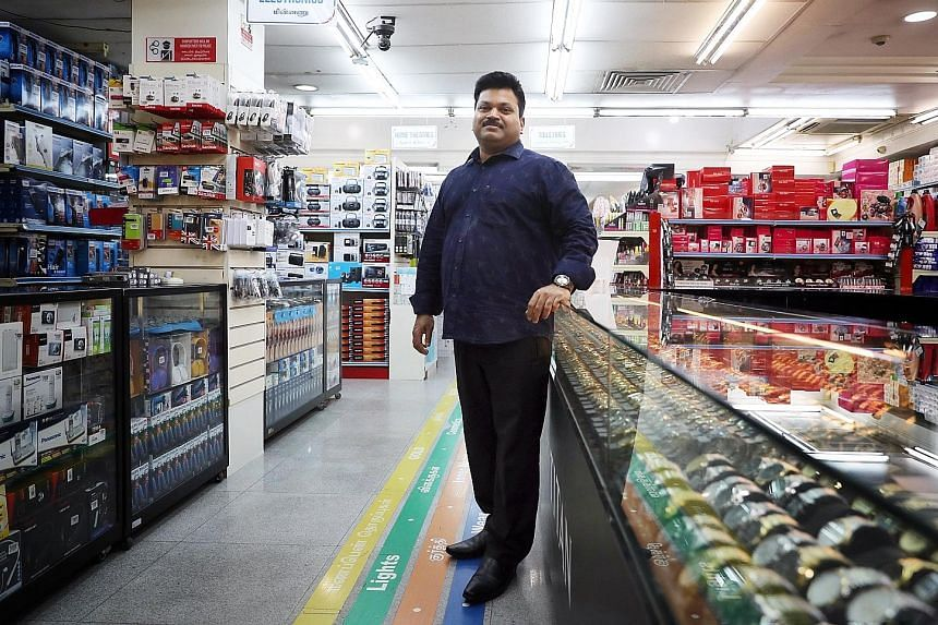 Chief executive C. Sankaranathan at the Appollo Sellappas department store in Little India. Sales at the store have been 30 per cent lower in the past two months compared with the same period last year, as customers prefer to remit money earned here