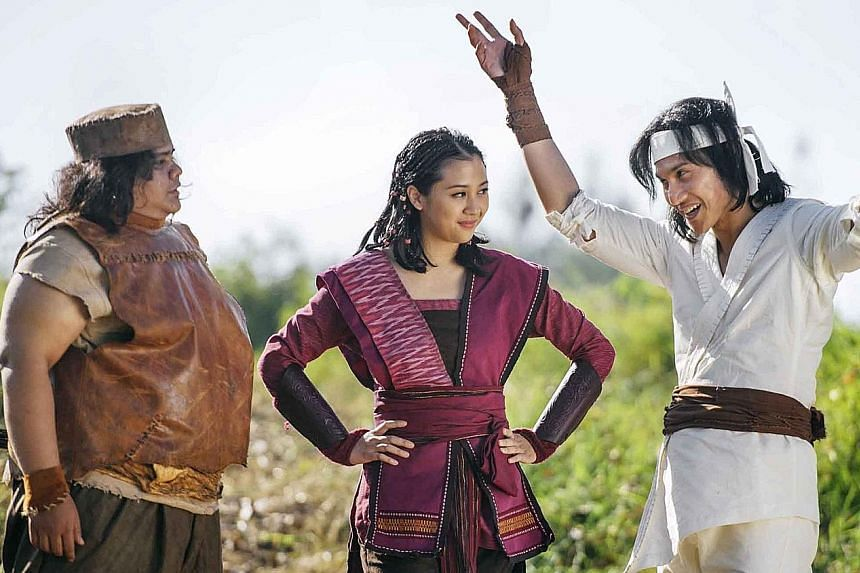 212 Warrior: The Adventures Of Wiro Sableng stars (from left) Fariz Alfarazi, Sherina Munaf and Vino G. Bastian.