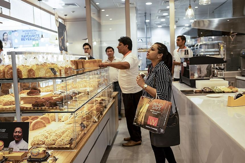 The BreadTalk outlet opened in Select Citywalk, a popular shopping mall in Delhi, on Tuesday. The Singaporean chainplans to open 15 outlets in India within three years.