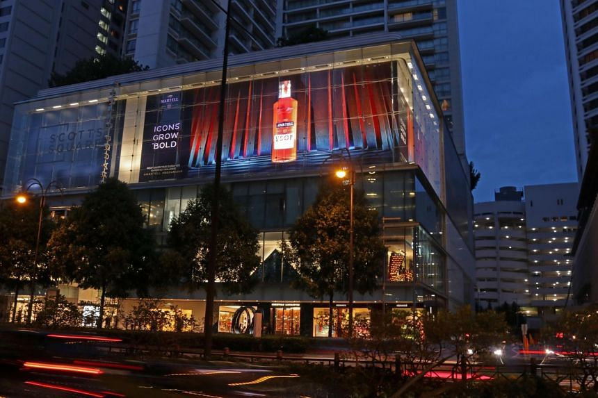 """The L-shaped ad at Scotts Square, measuring 50m by 11m, promotes cognac brand Martell's latest campaign titled """"Icons Grow Bold"""" and the Martell VSOP Aged in Red Barrels."""