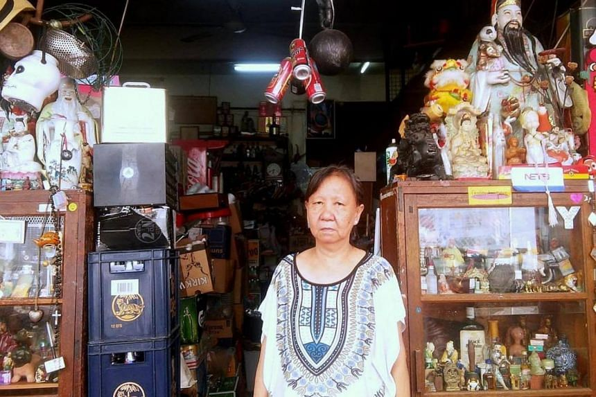 Madam Irene Yeo, the owner of Yeo Buan Heng Liquor Shop in Chander Road, who called the police after the break-in.