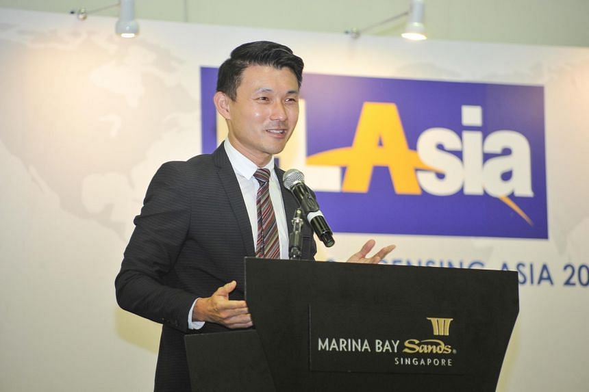 Mr Baey Yam Keng, Senior Parliamentary Secretary for Transport and Culture, Community and Youth, speaking at the opening ceremony of the Franchising & Licensing Asia exhibition on Oct 18, 2018.
