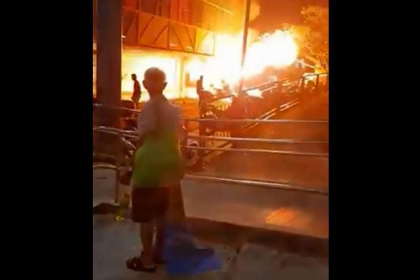 Videos posted online show a blazing fire, which burned five motorcycles and a car, at the carpark of Boon Lay Shopping Centre.