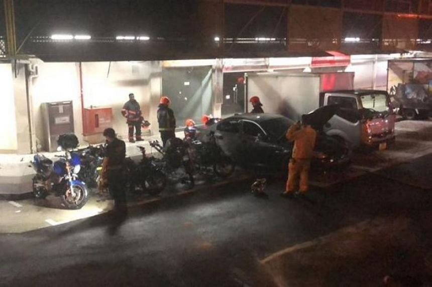 Five motorcycles and a car were burnt in the fire at the carpark of Boon Lay Shopping Centre. There were no reported injuries in the incident.