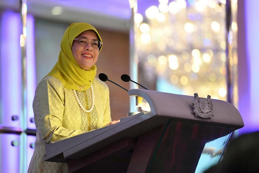 "President Halimah Yacob speaking at the ""Membina Keluarga Yang Berkekalan"" (Building Families That Last) parenting seminar at Holiday Inn Singapore Orchard City Centre on Sept 16, 2018."