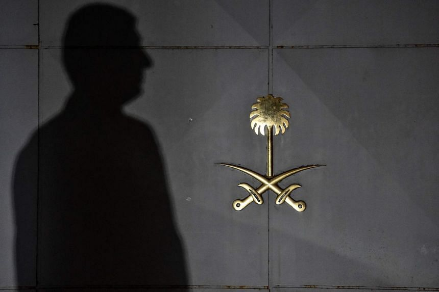 A security member of the consulate waits in front of the gate door of the Saudi Arabian consulate in Istanbul on Oct 17, 2018.