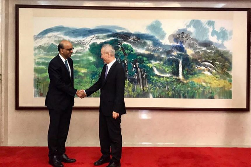 Deputy Prime Minister Tharman Shanmugaratnam and Chinese Vice Premier Liu He agreed to deepen bilateral partnership in the areas of finance, regional infrastructure development, education as well as science and technology.