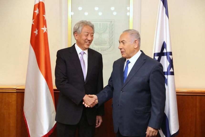 Deputy Prime Minister and Coordinating Minister for National Security Teo Chee Hean (left) called on Israeli Prime Minister Benjamin Netanyahu on Oct 17, 2018.