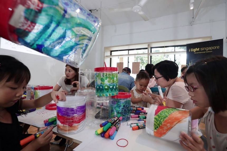 Cookie containers being designed by Jurong residents for an installation that will be displayed at i Light Singapore 2019.