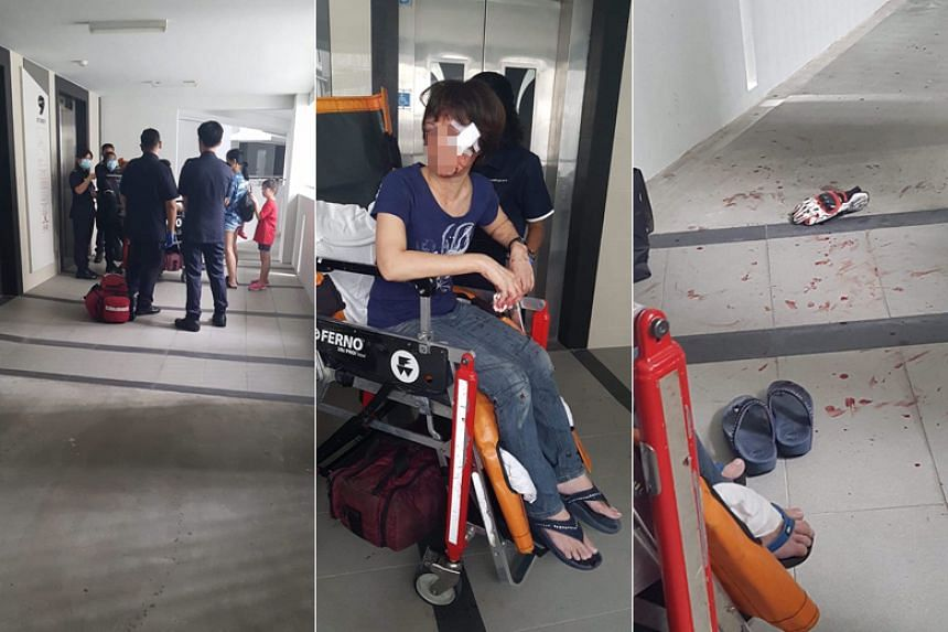 The Straits Times understands that a neighbour had heard her shouting and arrived to find the victim injured.