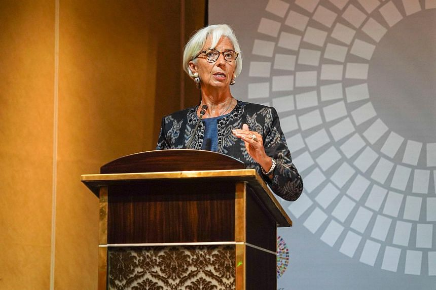 IMF Managing Director Christine Lagarde talks during a trade conference at the 2018 International Monetary Fund World Bank Group Annual Meeting at Nusa Dua in Bali Province, Indonesia, on Oct 10, 2018.