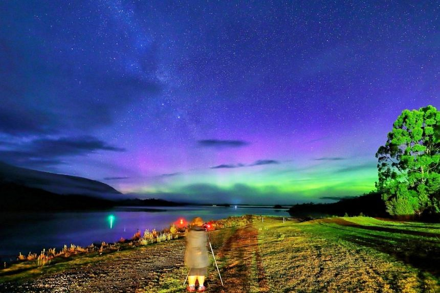 Southern Lights, spotted by Jetabout Holidays' Aussie Specialist, around 2.30am, in 4-5°C weather on her November 2017 road trip to Tasmania. PHOTO: JETABOUT HOLIDAYS