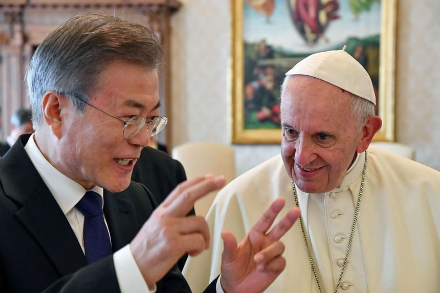 Pope Francis met South Korean President Moon Jae-in during a private audience at the Vatican on Thursday.