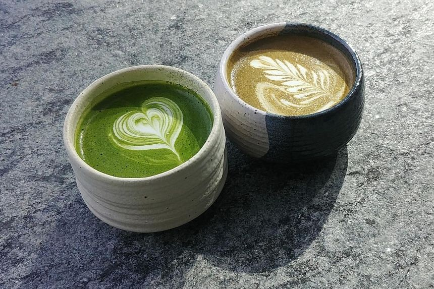 Matcha latte (far left) and houjicha latte (left) at The Matcha Project. The Backstreet Bengs comprise (from left) Miller Mai of Ding Dong, Jeremmy Chiam of Le Binchotan and Eugene See of Birds of a Feather.