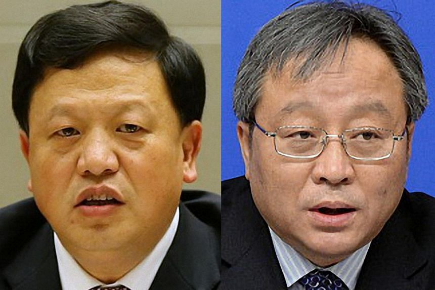 """The Supreme People's Procuratorate ordered the arrest of former vice-governor of Guizhou province Wang Xiaoguang (left), while former vice-finance minister Zhang Shaochun has been under investigation for """"serious violation of discipline and law""""."""