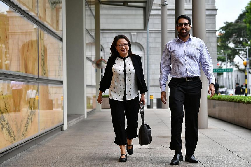 Workers' Party chairman Sylvia Lim and secretary-general Pritam Singh at the Supreme Court, on Oct 18.