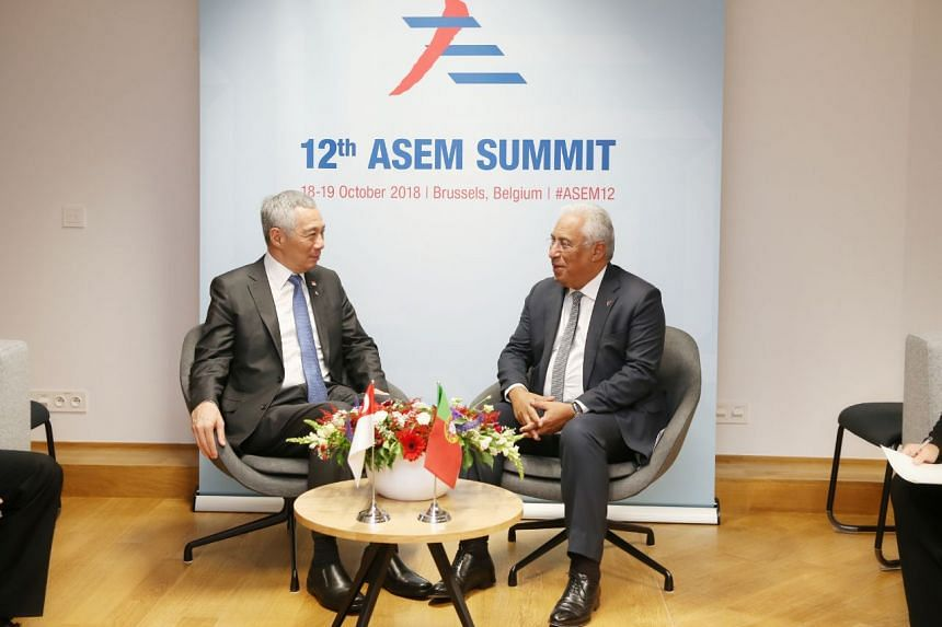Prime Minister Lee Hsien Loong and Prime Minister of Portugal Antonio Costa at a Singapore-Portugal bilateral meeting in Brussels, Belgium.