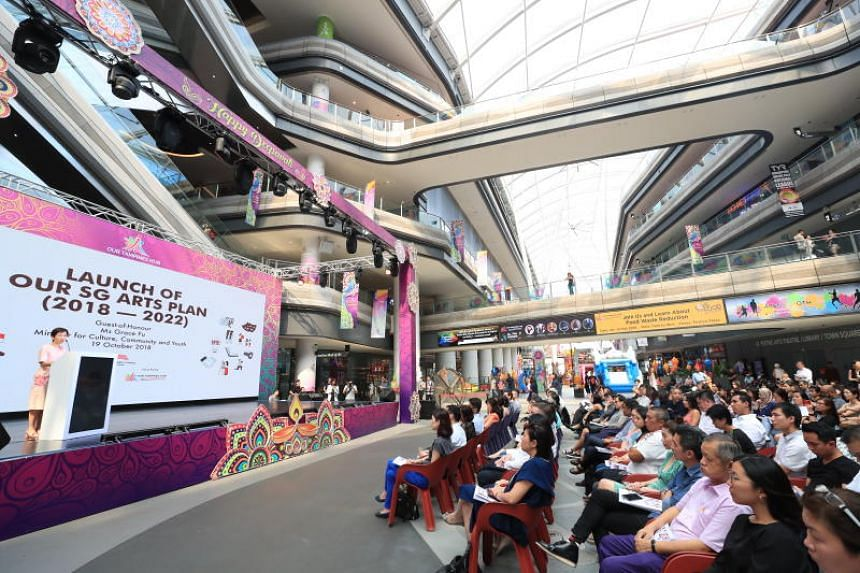 Minister for Culture, Community and Youth Grace Fu speaking during the launch of Our SG Arts Plan at Our Tampines Hub on Oct 19, 2018.