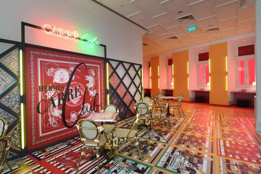 The Hermes Carre Club will include live art demonstrations, a cafe, a manicure booth and a karaoke booth.