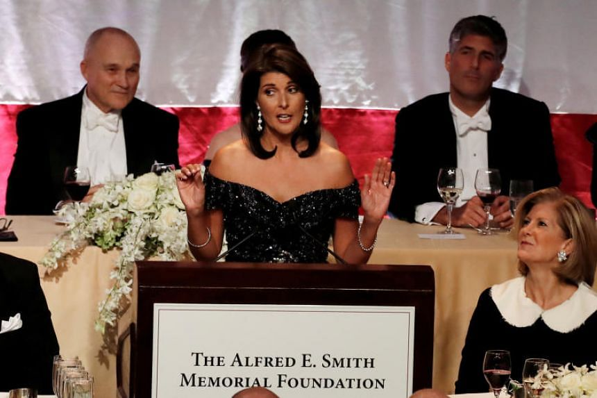 US Ambassador to the United Nations Nikki Haley speaking at the 73rd Annual Alfred E. Smith Memorial Foundation dinner in New York City, on Oct 18, 2018.