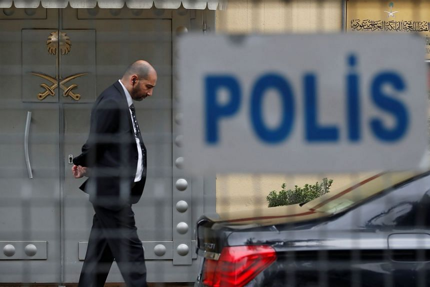 A member of security staff stands at the entrance of Saudi Arabia's consulate in Istanbul, Turkey, on Oct 20, 2018.