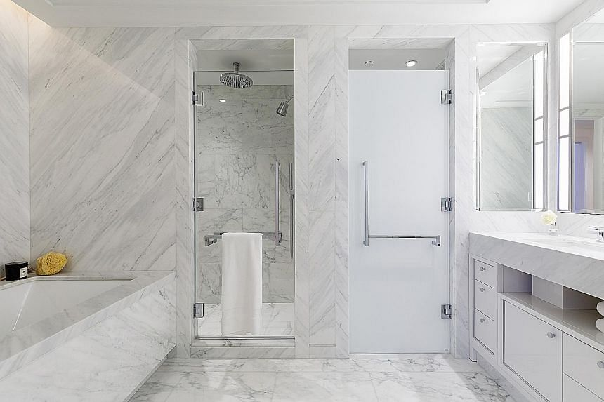The condominium at 111 Murray Street features marble slabs selected from Italy and Greece. The interior of a high-rise condominium in Manhattan's Tribeca neighbourhood.