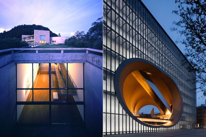 Architect Tadao Ando's Benesse House Museum (left) in Naoshima, Japan, and Shanghai Poly Theatre (right). Tadao Ando: The Challenge, a major retrospective at the Centre Pompidou, covers five decades of his work.