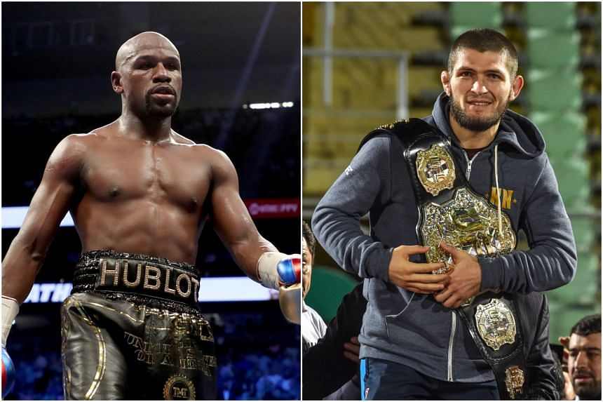 Floyd Mayweather's (left) team has not approached Ultimate Fighting Championship about a match against Khabib Nurmagomedov, said UFC president Dana White.